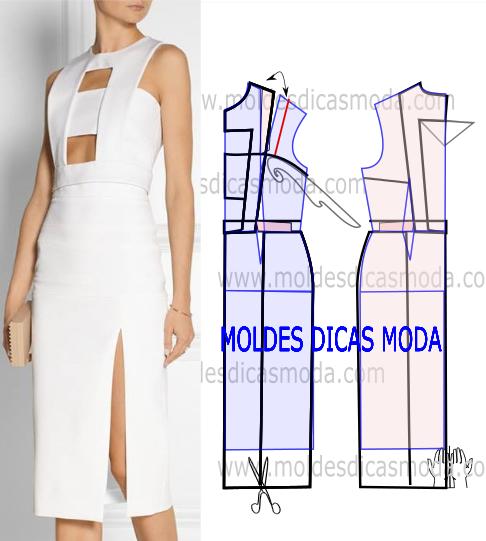 vestido branco com cortes