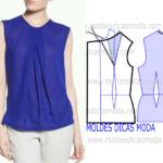 molde de blusa azul
