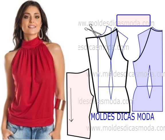 molde de blusa franzida no decote