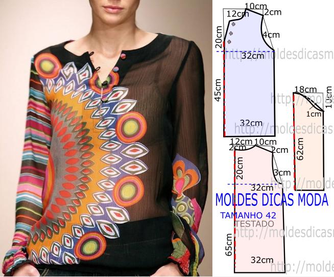 molde de blusa hippie chic