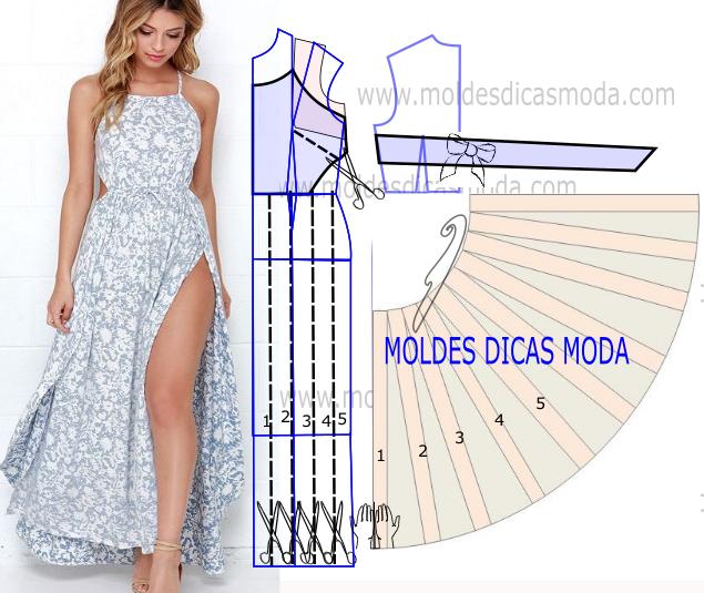 molde de vestido de verão