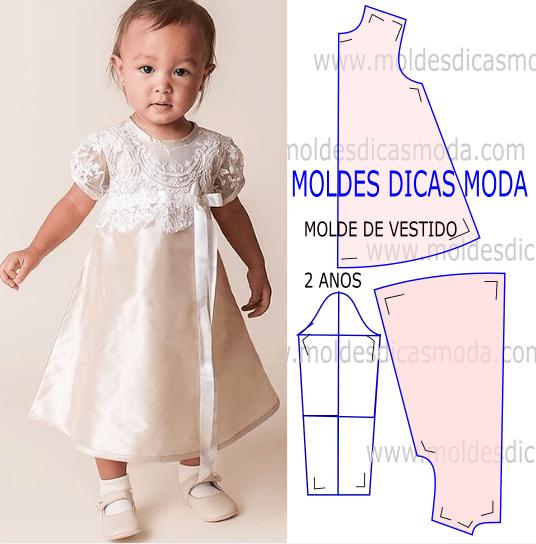 molde vestido de criança 2 anos