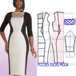 molde de vestido branco e preto