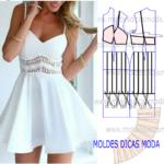 molde de vestido com encaixe em renda