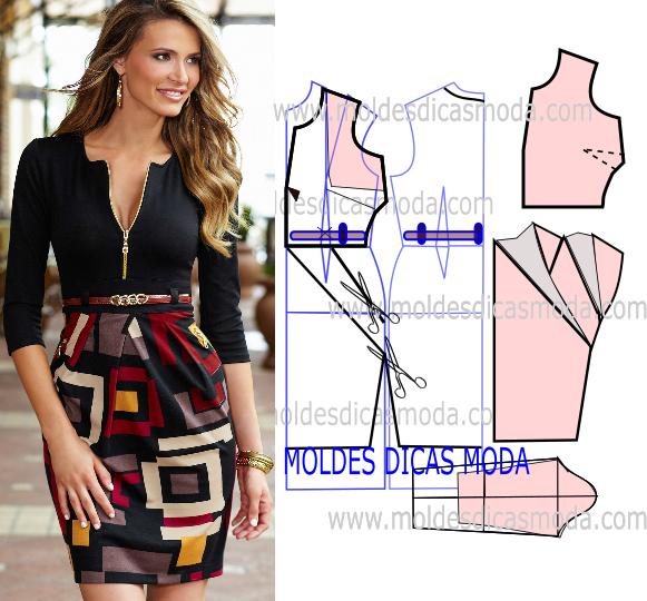 vestido com saia estampada