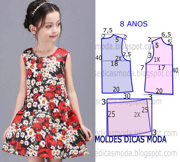 vestido de flores 8 anos