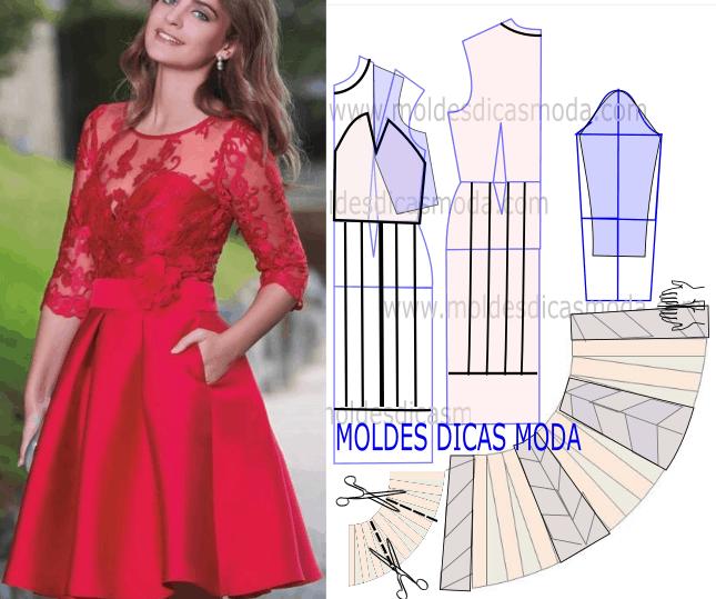 molde de vestido vermelho