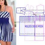 vestido de riscas azuis