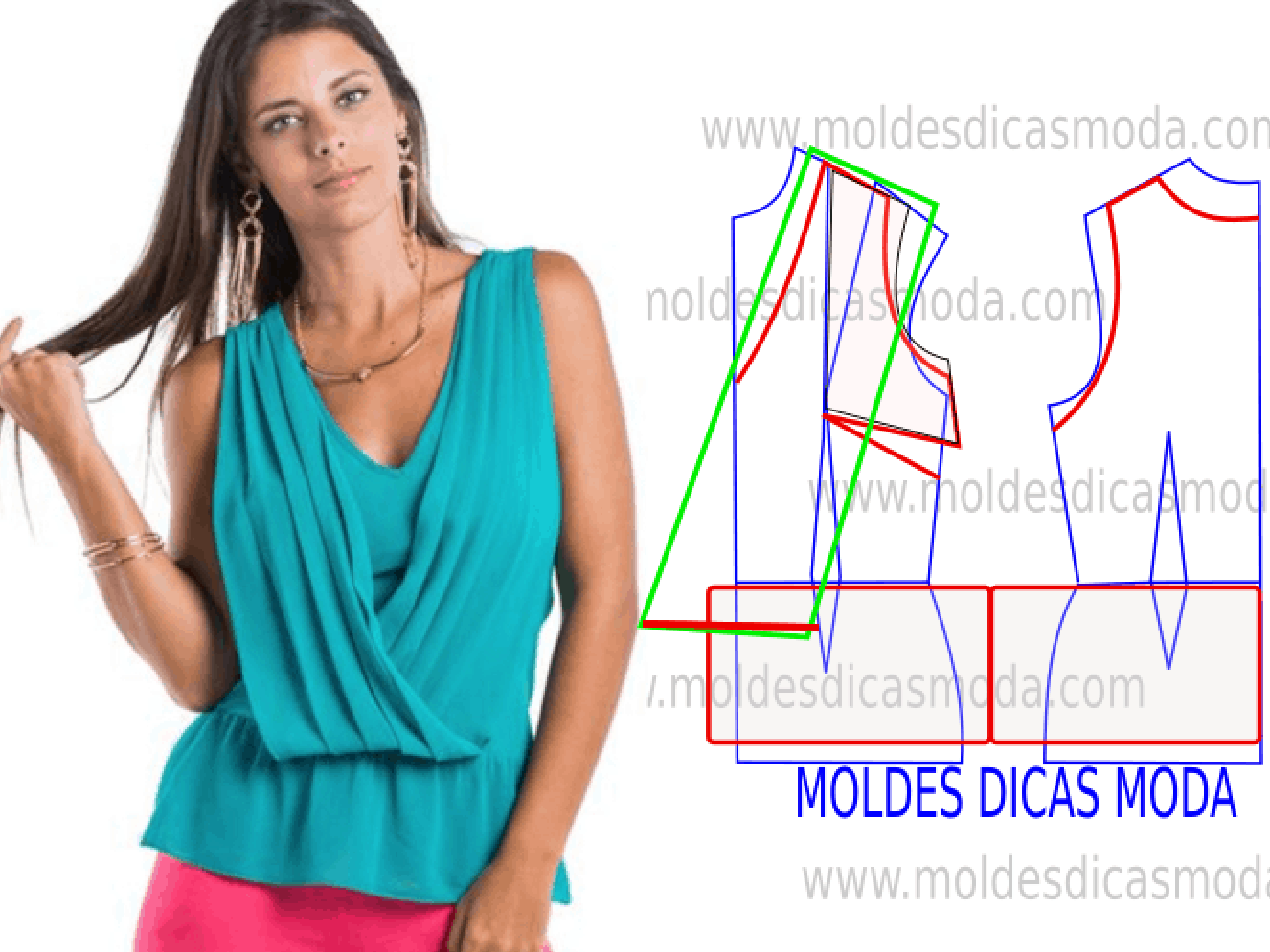 86675e447a O molde de blusa não tem valor de costura