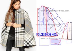 molde de casaco capa xadrez