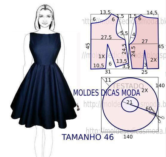 vestido azul com molde