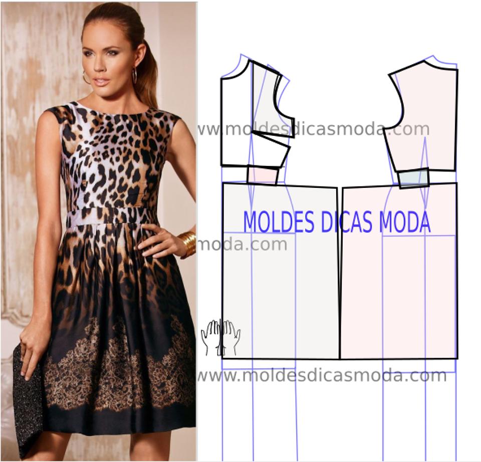 molde de vestido leopardo