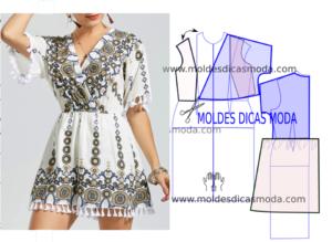 Molde de vestido de franjas