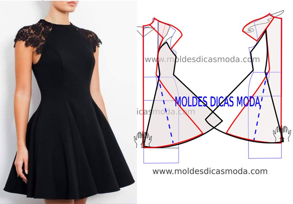 molde de vestido preto