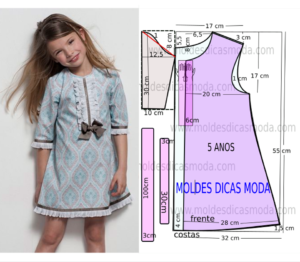 molde de vestido menina
