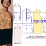 Molde de blusa casual feminina