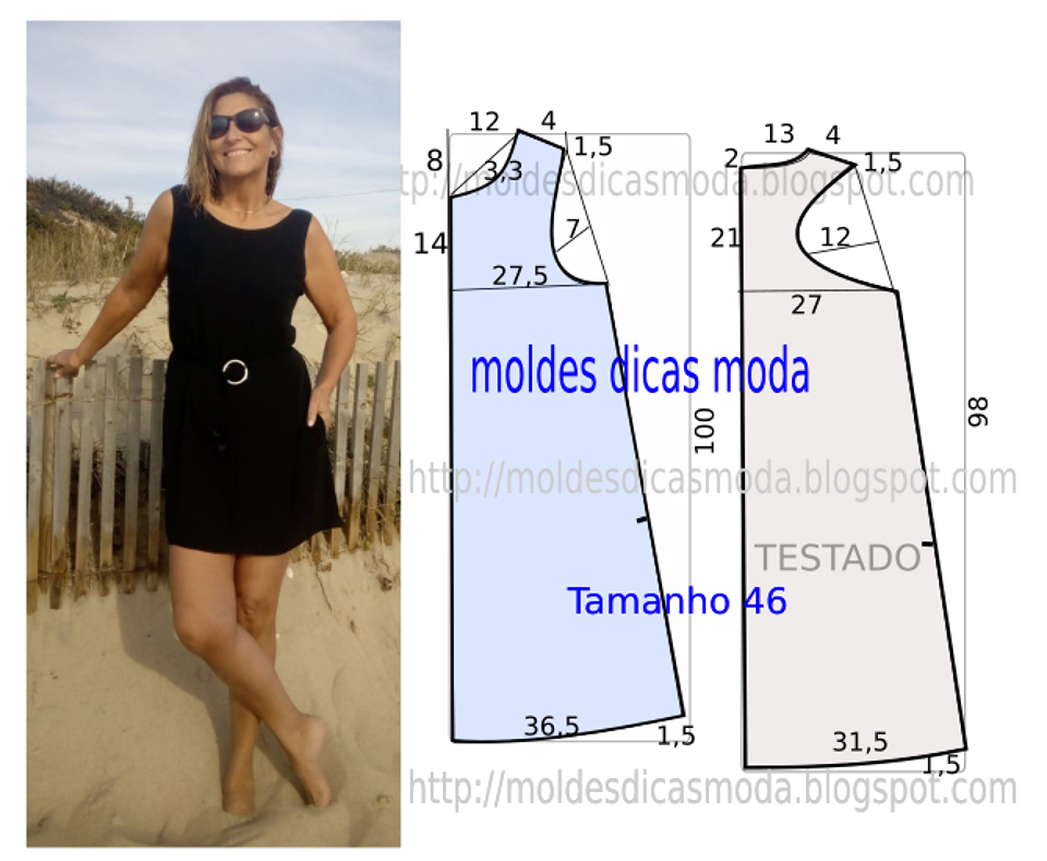 molde de vestido basico