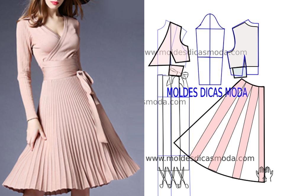 vestido plissado rosa passo a passo