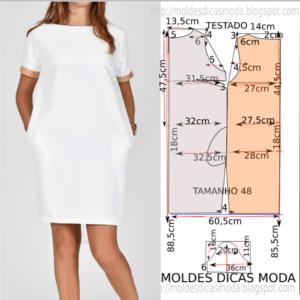 Molde de vestido branco casual