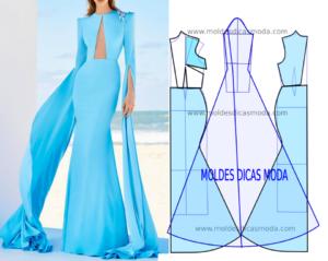 Molde de vestido azul longo