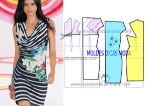 Molde de vestido drapeado em tecido