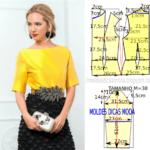 Molde de blusa amarela feminina