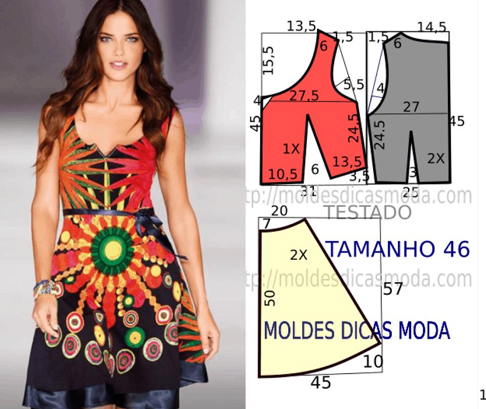 Molde de vestido colorido