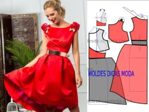 Molde de vestido vermelho feminino