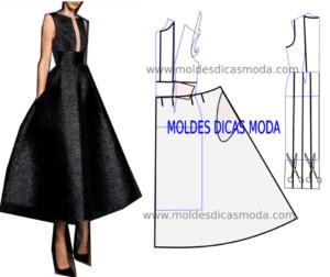 molde de vestido preto longo