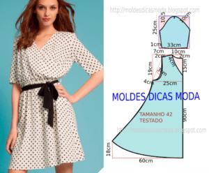 Molde de vestido casual chic feminino