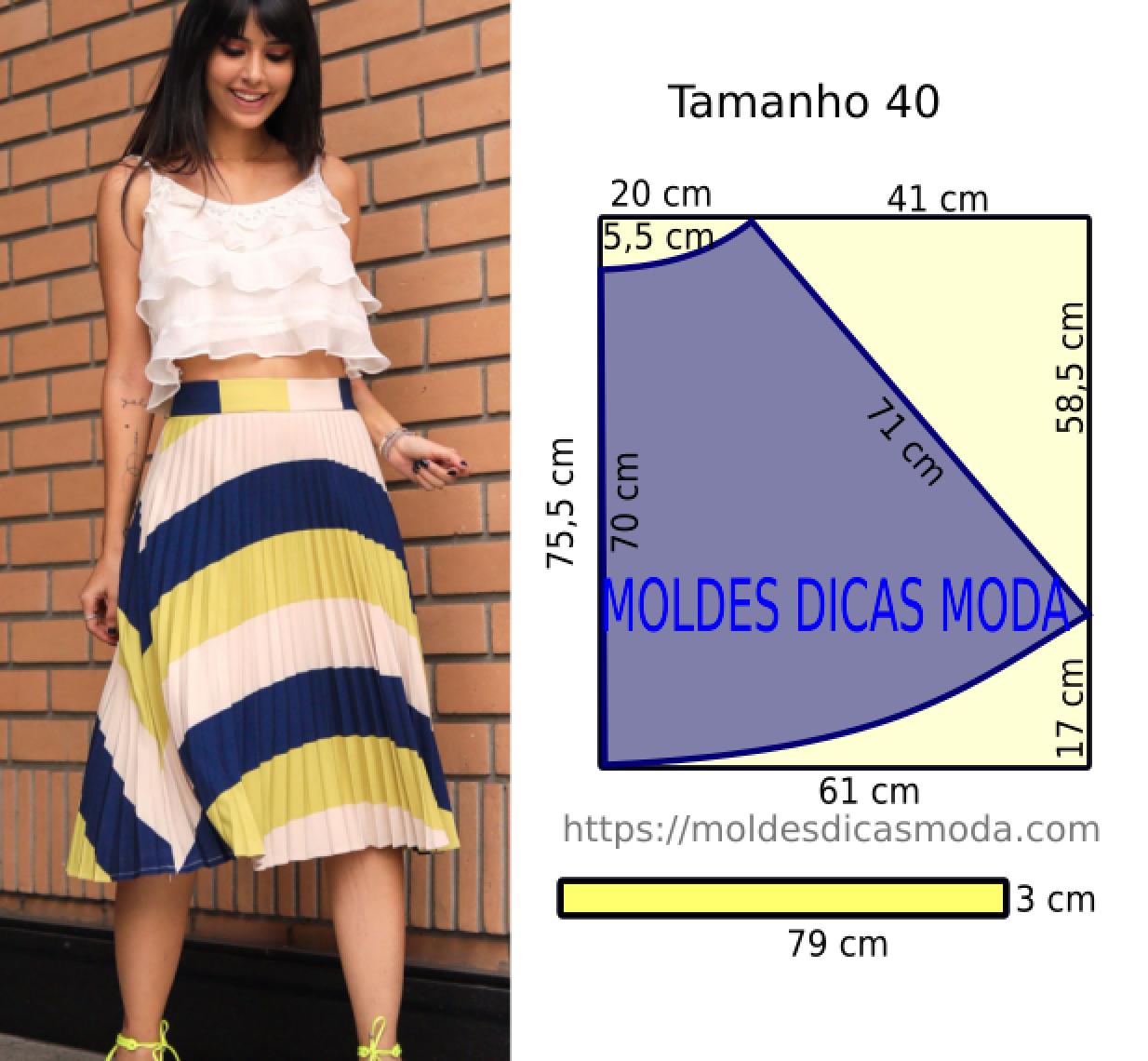 molde de saia plissada