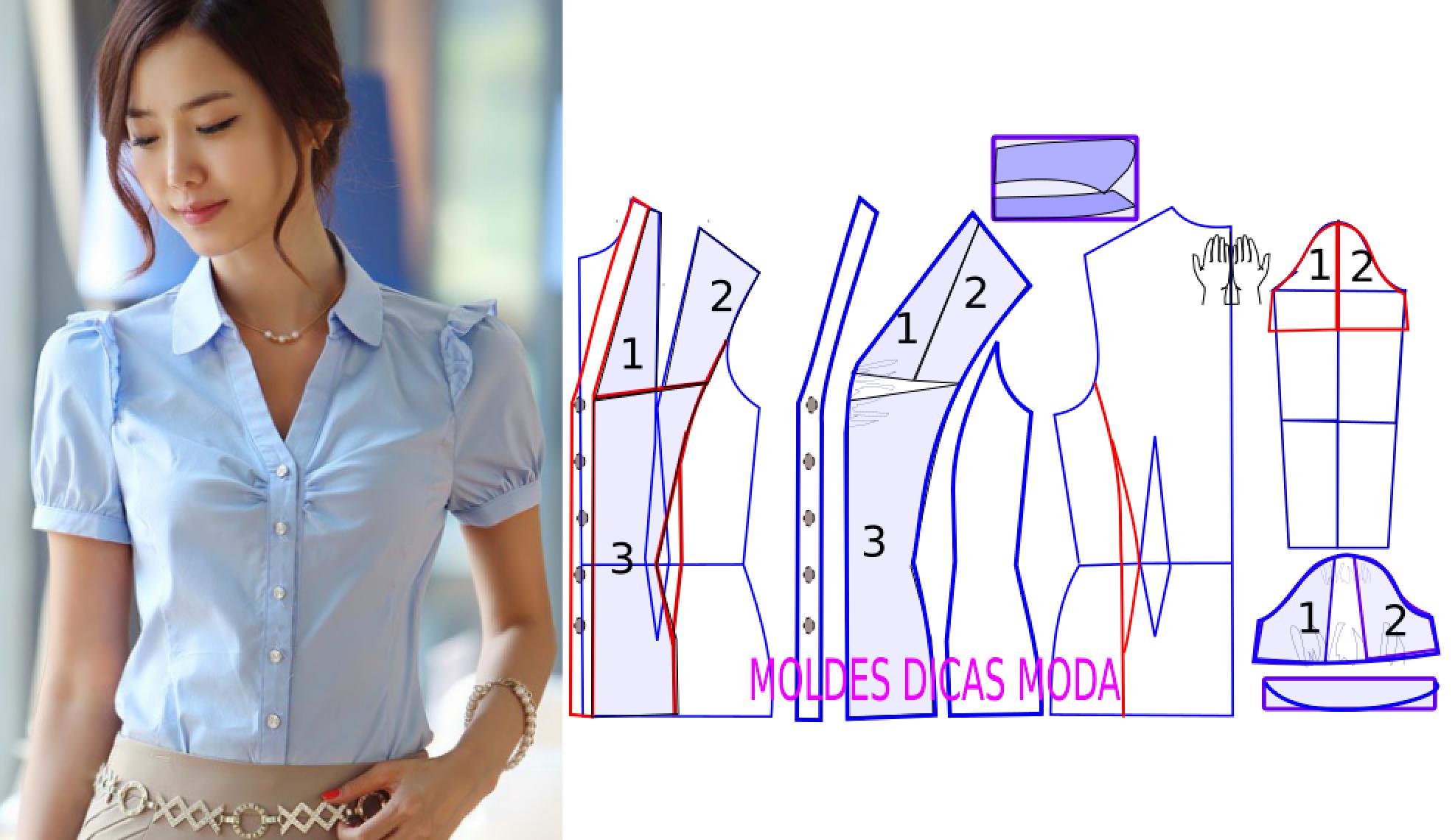 Molde de blusa clássica azul